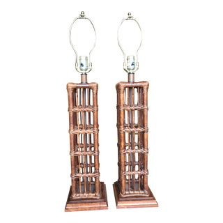 Island Style Coastal Regency Rattan Lamps-A Pair For Sale