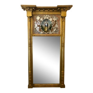 Antique French Empire Eglomise Reverse Painted Glass Mirror For Sale