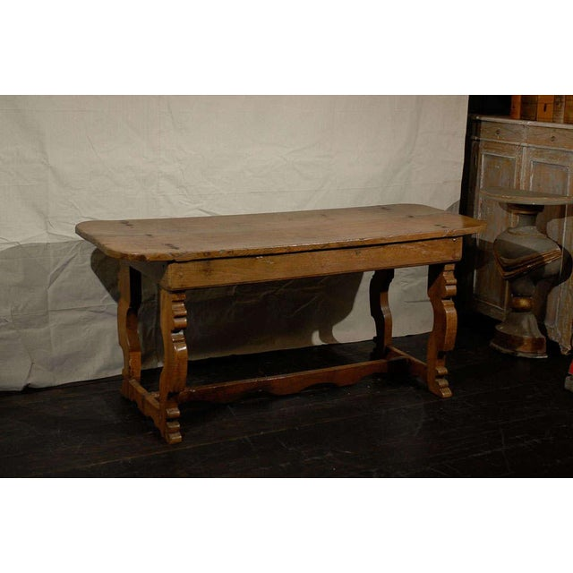 Italian 18th Century Trestle Farm Table With Lyre Shaped Legs For Sale - Image 9 of 10