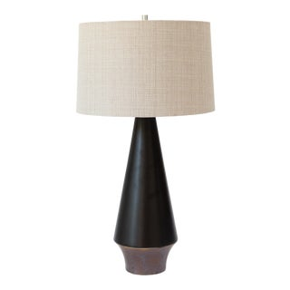 Melmar Mid Century Black Ceramic Table Lamp With Shade For Sale