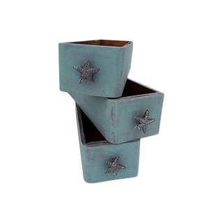 Antique Victorian Wood Boxes/Bins Aqua Coastal Shabby Starfish S/3 For Sale