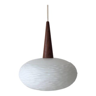 Opaline Glass and Teak Pendent Lamp by Louis Kalff for Philips, 1960s