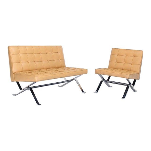 Mid-Century Modern Tufted Upholstery Chrome Base Settee Loveseat and Chair Set - 2 Pieces For Sale