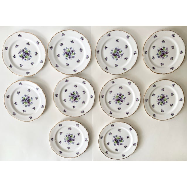 Metal Royal Stafford Sweet Violets Gold Edge Salad Plates - Set of 10 For Sale - Image 7 of 11