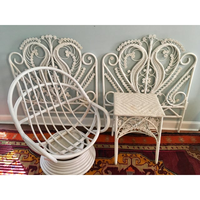 Vintage White Peacock Wicker Side Table Chairish