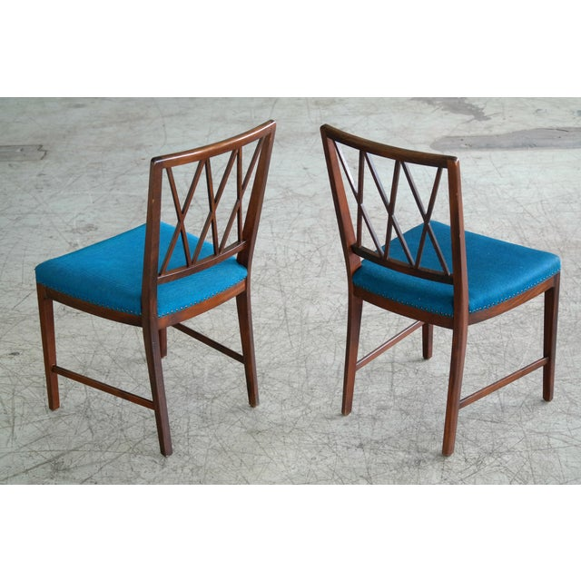 Blue Set of Ten Danish Chairs in Rosewood Stained Beech Attributed to Ole Wanscher For Sale - Image 8 of 10