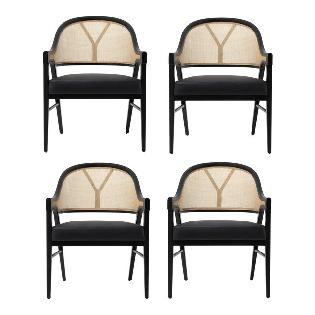 Paulo Antunes Contemporary Dining Chairs in Cane and Solid Wood - Set of 4 For Sale