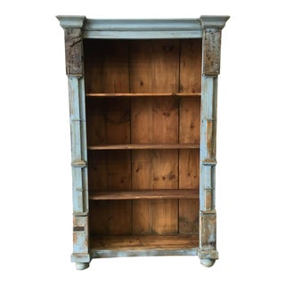 Antique Rustic European Painted Pine Bookcase