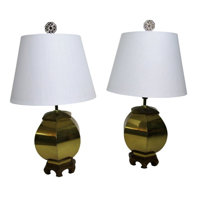 Vintage 1970s Chinoiserie Brass Lamps - a Pair For Sale