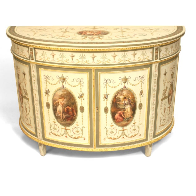 An Finely Painted 19th Century English Adam Style Two Door Cabinet For Sale In New York - Image 6 of 6