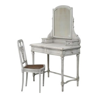 Antique French Dressing Table with Matching Chair Set For Sale