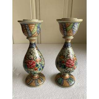 Petite Painted Wood Candleholders, a Pair Preview