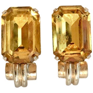 1930's Gold & Citrine Art Glass Earrings By, Coro For Sale