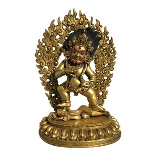 Nepalese Gilt Bronze Figure of Black Jambhala, late 20th century For Sale