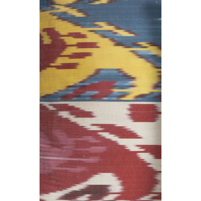 Contemporary Traditional Ikat Silk Pillows in Primary Hues For Sale - Image 3 of 3