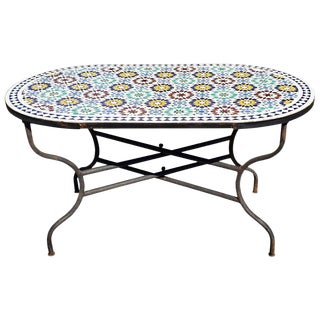 Moroccan Oval Beldia Pattern Mosaic Dining Table For Sale