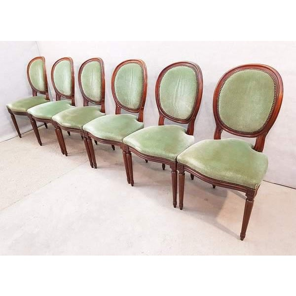 French French Vintage Louis XVI Style Green Velvet Medallion Back Dining Chairs - Set of 6 For Sale - Image 3 of 13