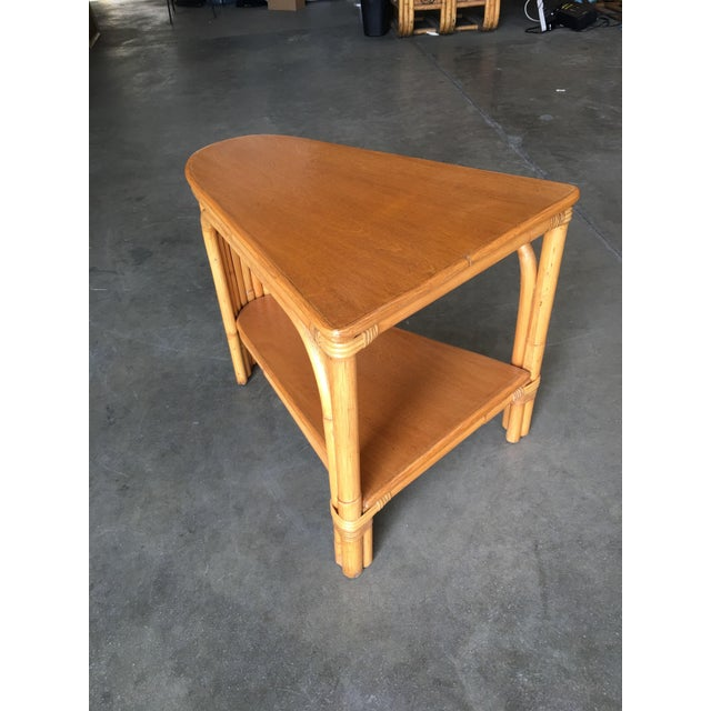Mid-Century Modern Restored Rattan Wedge Drinks Table With Two-Tier Mahogany Tops For Sale - Image 3 of 7