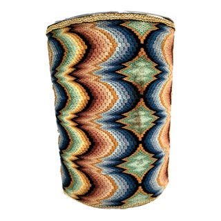 1960s Vintage Missoni Inspired Crochet Umbrella Stand, Garbage Bin For Sale
