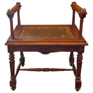 19th Century French Carved and Stained Walnut Stool For Sale