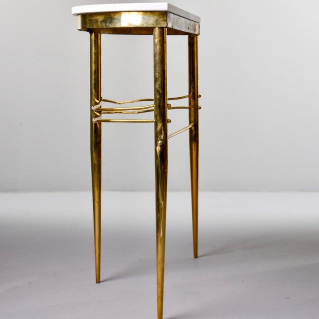 Metal Mid-Century Italian White Marble Top Console With Brass Base For Sale - Image 7 of 11
