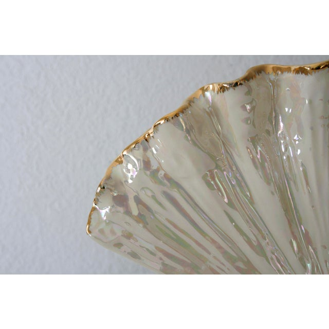 Pearlescent Ivory and Gold Shell Shaped Vase For Sale - Image 4 of 8