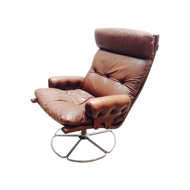 Bruno Mathsson for Dux Swivel Base Lounge Chair For Sale