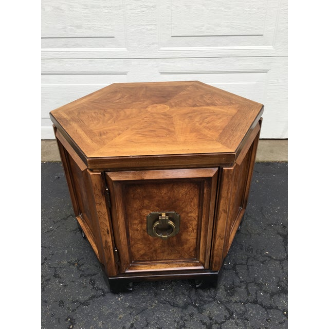 1960s Asian Thomasville Hexagonal Side Table For Sale - Image 9 of 9