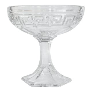 "Heisey Crystal Etched ""Greek Key"" Bon-Bon Dish For Sale"