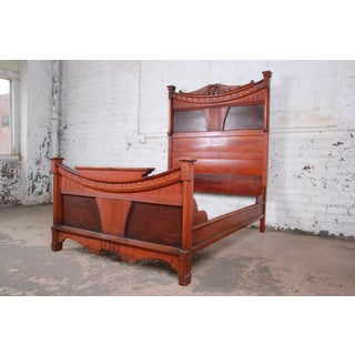 Antique Victorian Carved Walnut and Rosewood Full Size Bed Frame, Circa 1870 Preview