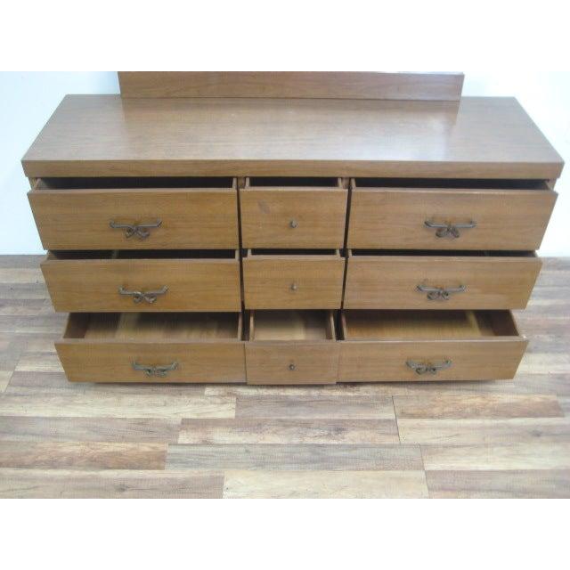 Mid Century Modern Dresser With Vanity Mirror - Image 8 of 9