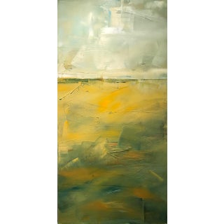 Abstract Autumn Colors Yellow, Green Landscape Vertical Oil Painting on Canvas For Sale