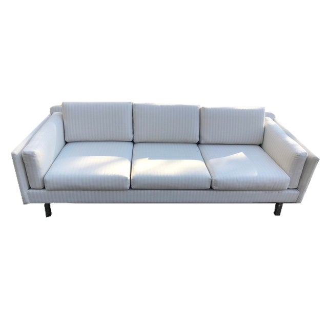 Linen Two Mid-Century Modern White Linen Sofas - a Pair For Sale - Image 7 of 7