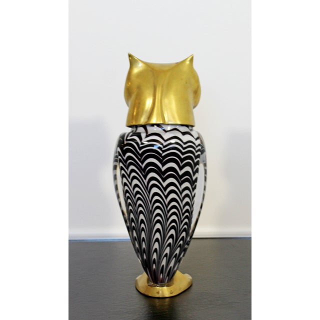 White Mid Century Modern Glass Bronze Brass Owl Table Sculpture Luca Bojola Italy For Sale - Image 8 of 11