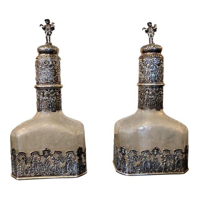 18th Century German Silver Encased Etched Glass Decanters Augsburg 1781 - a Pair For Sale