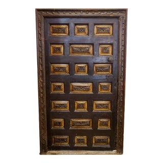 17th Century Spanish Carved Door with Frame For Sale