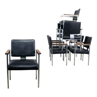 8 MCM Brushed Steel Black Vinyl Dining Conference Chairs With Walnut Arms by InterRoyal For Sale