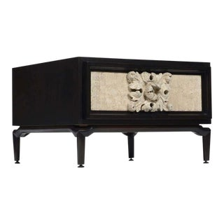Ebonized Mahogany and Stone Side Table For Sale