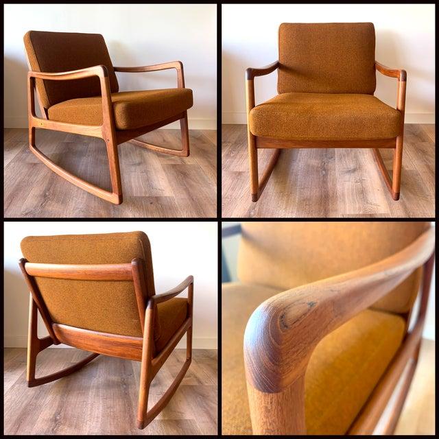 Wood Restored Ole Wanscher for France and Sons Danish Modern Teak Frame Rocker For Sale - Image 7 of 8