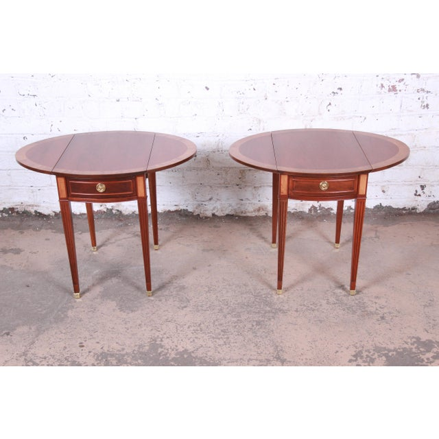 Metal Baker Furniture Georgian Style Banded Mahogany Pembroke Side Tables - a Pair For Sale - Image 7 of 13