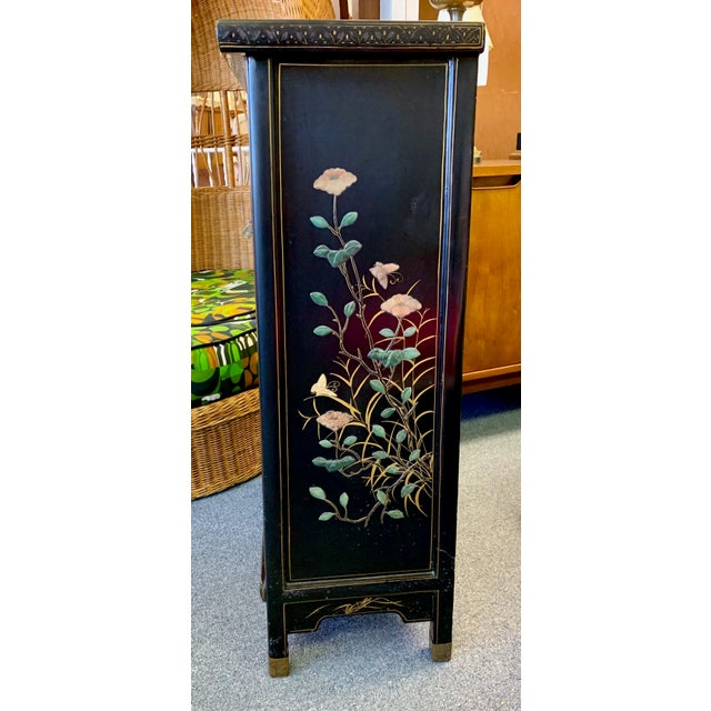 Asian 1950's Vintage Black Lacquer Chinoiserie Armoire For Sale - Image 3 of 12