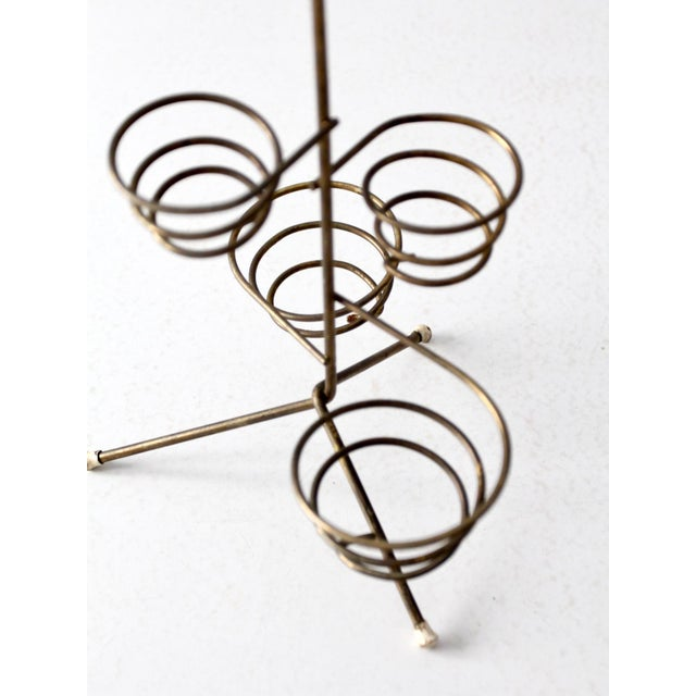 Black Mid-Century Brass Coil Stand For Sale - Image 8 of 9