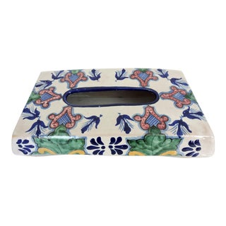 Vintage Mexican Pottery Tissue Box Cover For Sale