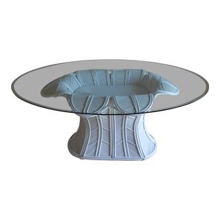 Mid Century Modern Tropical Gabriella Crespi Style Pencil Reed Rattan Bell Flower Dining Table For Sale