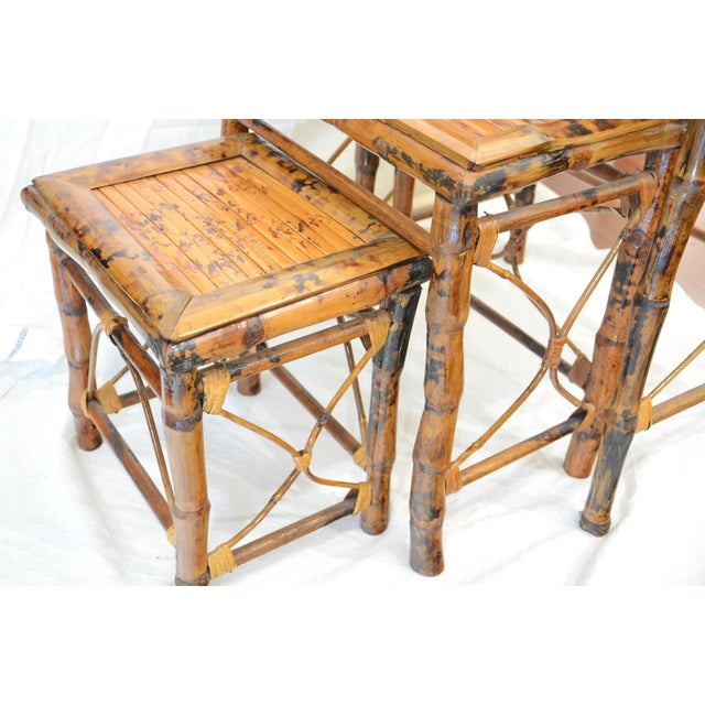 Vintage Bamboo Nesting Tables - Set of 3 For Sale - Image 4 of 7