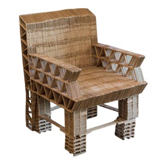 Popsicle Stick Tramp Art Chair For Sale