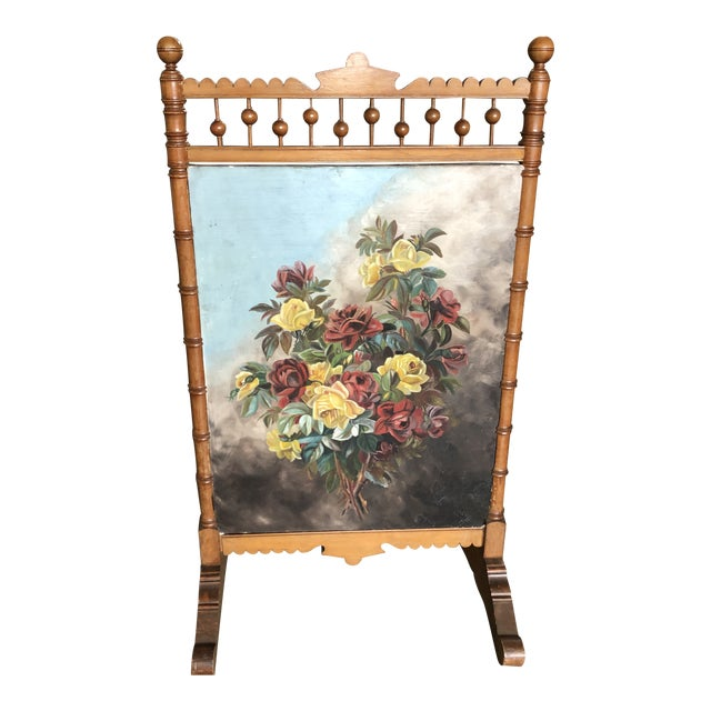Victorian Circa 1880 Summer Fireplace Screen With Floral Painting and Velvet Screen For Sale