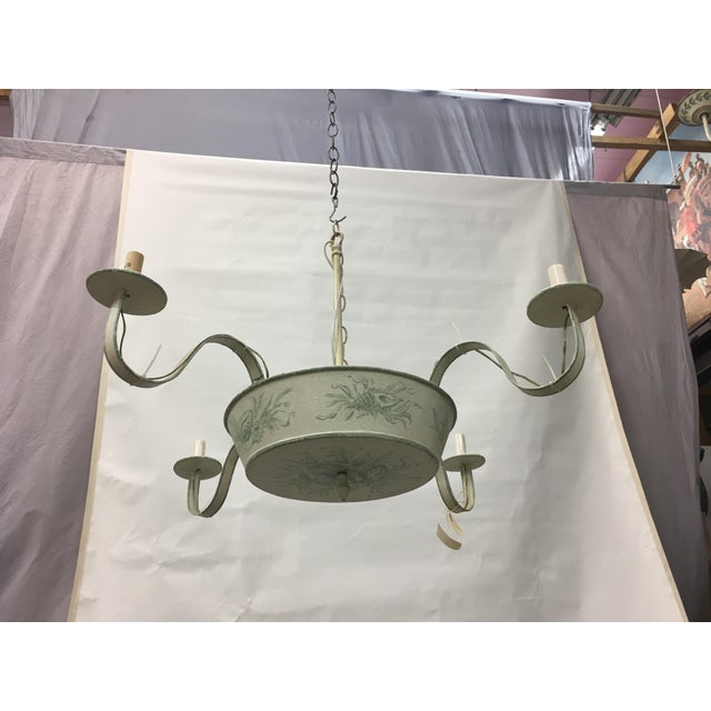 4 arms French Ceiling Chandelier, off white with hand painted soft green floral/leave design, antiquing glaze