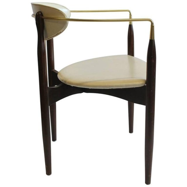 Mid-Century Modern Mid-Century Dan Johnson Leather & Wood Desk Chair For Sale - Image 3 of 4