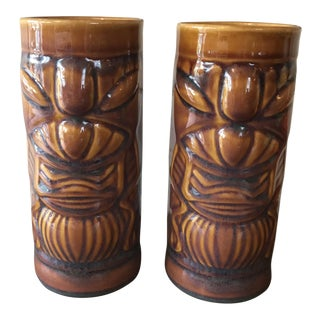 1970s Art Deco Hawaiian Tiki Mugs Brown Gold - a Pair